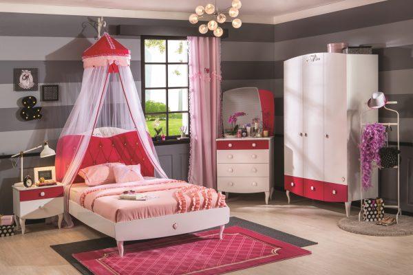 Set Mobila dormitor din pal, pentru fete si tineret 4 piese Yakut White / Dark Pink