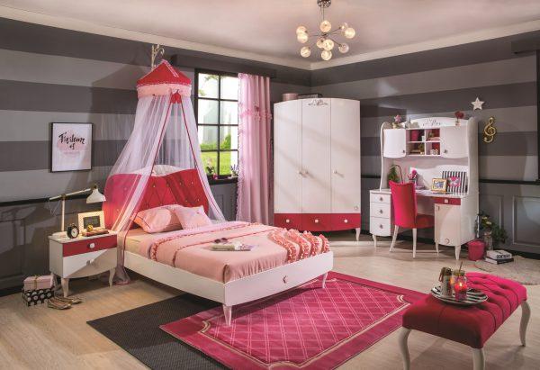 Set Mobila dormitor din pal, pentru fete si tineret 5 piese Yakut White / Dark Pink