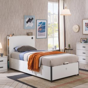 Set Mobila dormitor din pal pentru tineret 3 piese White, 200 x 100 cm