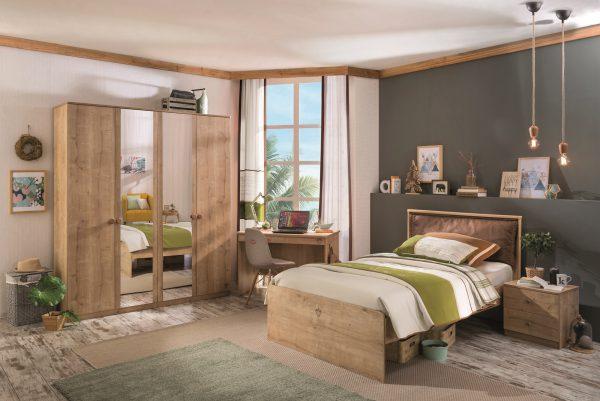 Set Mobila dormitor din pal, pentru tineret 4 piese Mocha Nature