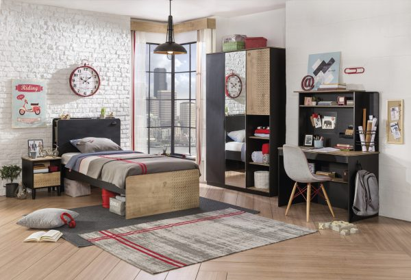 Set Mobila dormitor din pal, pentru tineret 5 piese Blacky Black / Nature
