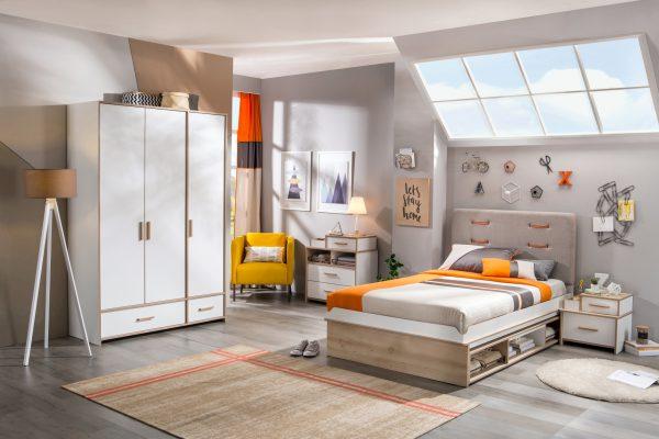 Set Mobila dormitor din pal pentru tineret 5 piese Dynamic White / Natur