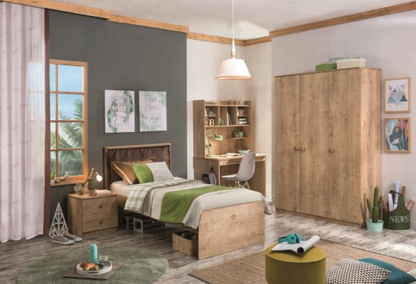 Set Mobila dormitor din pal, pentru tineret 5 piese Mocha Nature