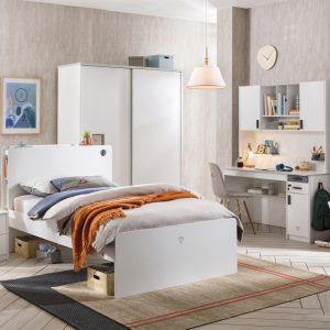 Set Mobila dormitor din pal pentru tineret 5 piese White Large, 200 x 120 cm