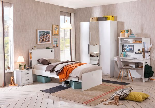 Set Mobila dormitor din pal pentru tineret 5 piese White Small, 200 x 100 cm