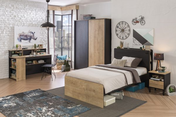 Set Mobila dormitor din pal, pentru tineret 6 piese Blacky Black / Nature