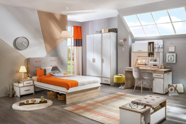Set Mobila dormitor din pal pentru tineret 6 piese Dynamic White / Natur