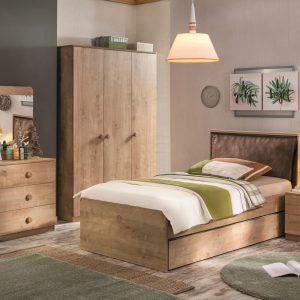 Set Mobila dormitor din pal, pentru tineret 6 piese Mocha Nature