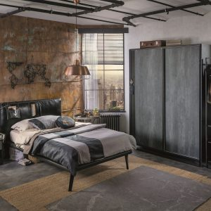 Set Mobila dormitor din pal si metal, pentru tineret 4 piese Dark Metal Black / Graphite