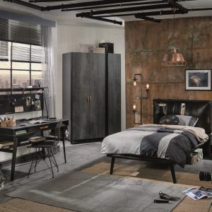 Set Mobila dormitor din pal si metal, pentru tineret 5 piese Dark Metal Black / Graphite