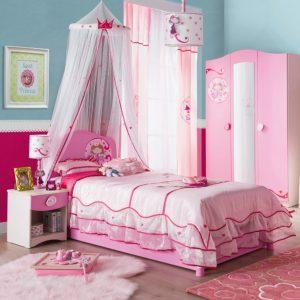 Set Mobila dormitor din pal, pentru copii 4 piese Little Princess Pink / Nature