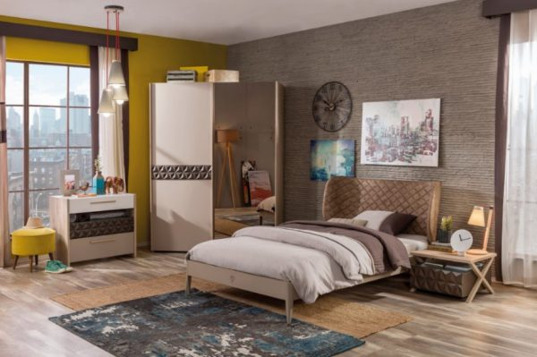 Set Mobila dormitor din pal, pentru tineret 4 piese Lofter Cream / Brown