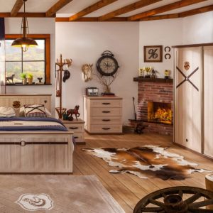 Set Mobila dormitor din pal, pentru copii si tineret 5 piese Royal Nature II