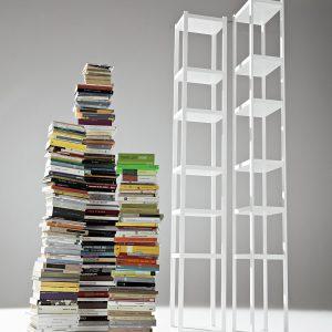 Biblioteca din lemn masiv si MDF Singles White, l32xA23xH217 cm