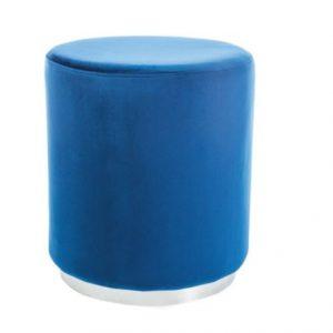 Taburet tapitat cu stofa Furla Silver Blue, O 42xH48 cm