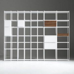 Biblioteca din lemn masiv si MDF 93-08 White, l361xA34,5xH218 cm