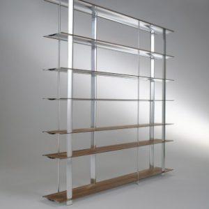Biblioteca din aluminiu su furnir Kaze Nature / White, l240xA34xH194 cm