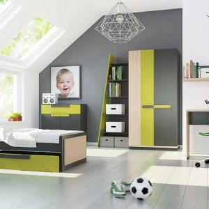 Set Mobila dormitor din pal, pentru copii 9 piese Wow Oak / Graphite
