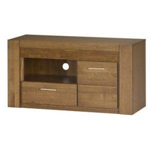 Comodă TV din lemn de stejar cu sertare și ușă Szynaka Meble Velvet