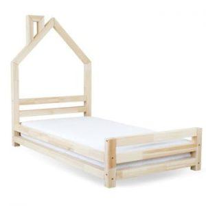 Pat din lemn natural de molid pentru copii Benlemi Wally,80x160cm