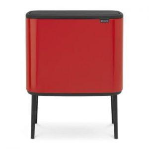 Coș de gunoi cu 3 compartimente Brabantia BO Touch Bin, 3 x 11 l, roșu