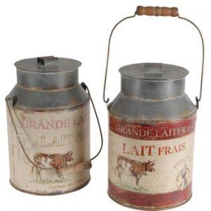 Set 2 recipiente decorative Milk Jar Antic Line