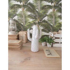 Statuetă din ceramică Orchidea Milano Cactus Summer In Greece, înălțime 31 cm, alb