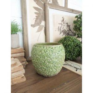 Set 2 ghivece din ceramică Orchidea Milano, înălțime 18 cm, verde