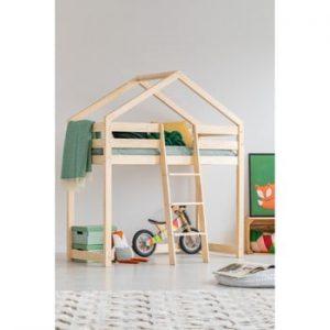 Cadru pat supraetajat din lemn de pin, în formă de căsuță Adeko Mila DMPA, 70 x 160 cm