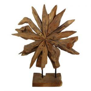 Decorațiune din lemn de tec HSM Collection Sunflower, 40 x 50 cm