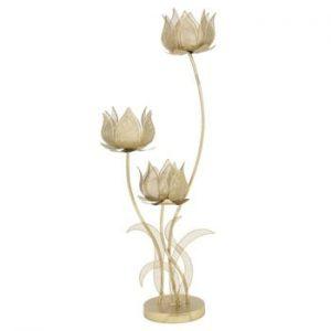 Sfeșnic pentru 3 lumânări Mauro Ferretti Flowery, înălțime 97 cm, auriu