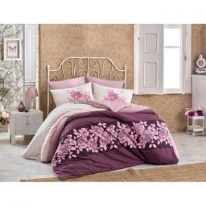 Lenjerie de pat cu cearșaf din bumbac Mantina Garnet, 200 x 220 cm