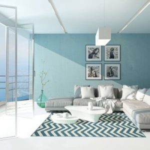 Covor foarte rezistent Floorita Waves, 133x190cm, albastru deschis