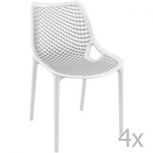 Set 4 scaune de grădină Resol Grid Simple, alb