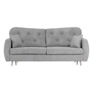 Canapea extensibilă cu 3 locuri și spațiu pentru depozitare Mazzini Sofas Orchid, gri
