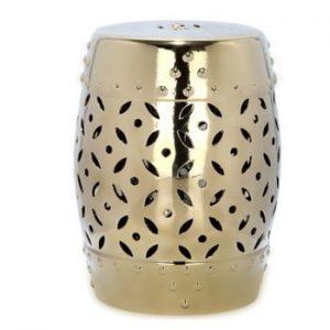 Masă din ceramică adecvată pentru exterior Safavieh Cyprus, ø33cm, auriu
