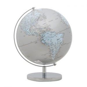 Glob decorativ Mauro Ferretti Mappamondo Silver, ⌀ 25 cm