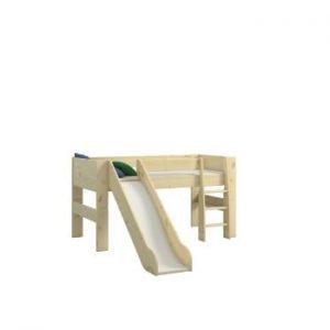 Pat supraetajat din lemn de pin pentru copii ,cu sertar Steens For Kids, înălțime 113cm