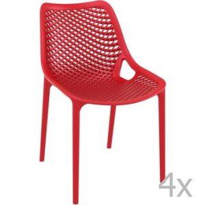 Set 4 scaune de grădină Resol Grid Simple, roșu