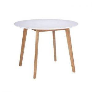 Masă cu picioare din lemn de arbore de cauciuc sømcasa Marta, ⌀ 100 cm, alb