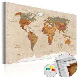 Hartă decorativă a lumii Artgeist Beige Chic 90 x 60 cm