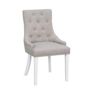 Scaun tapițat cu picioare albe Folke Vicky, gri deschis