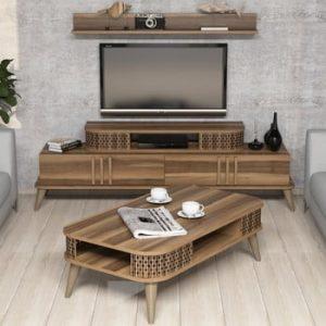 Set comodă TV și etajeră Eylul Walnut
