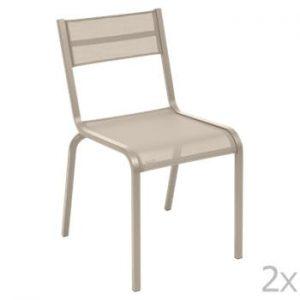 Set 2 scaune de grădină Fermob Oléron, bej
