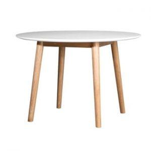 Masă cu structură din lemn de stejar WE47 Eelis, ⌀ 110 cm. alb