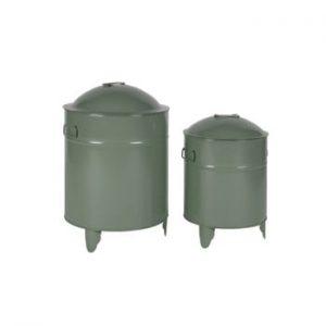 Set 2 cutii metalice de depozitare WOOOD Owen, verde