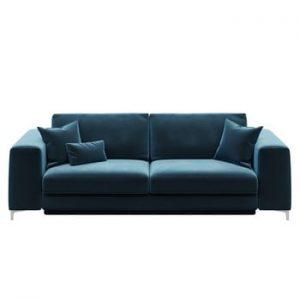 Canapea extensibilă cu 3 locuri devichy Rothe, albastru închis