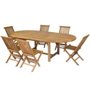 Set 6 scaune și masă din lemn de tec Santiago Pons