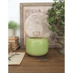 Set 4 ghivece din ceramică Orchidea Milano Simple, înălțime 14 cm, verde