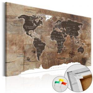 Hartă decorativă a lumii Artgeist Wooden Mosaic 90 x 60 cm
